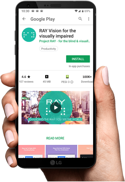 Ray VISION - Recommended App for Blinds & Visually Impaired